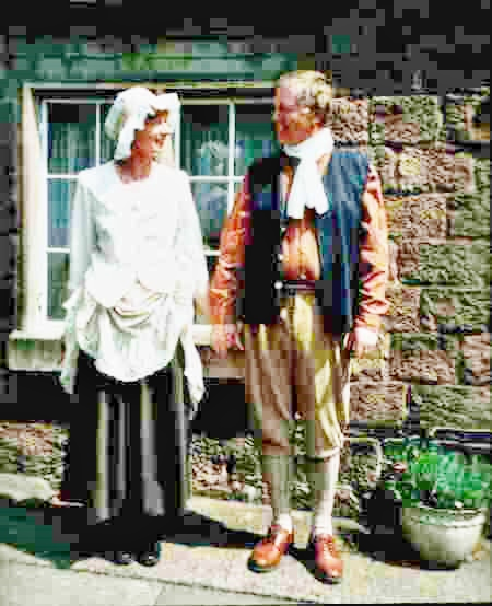 Gerry and Linda, the previous occupants, in period costume