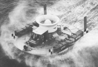 SRN1 hovercraft at sea with Sir Christopher Cockrell on the bow.