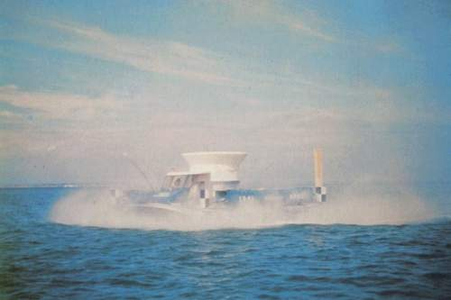 SRN1 hovercraft at sea