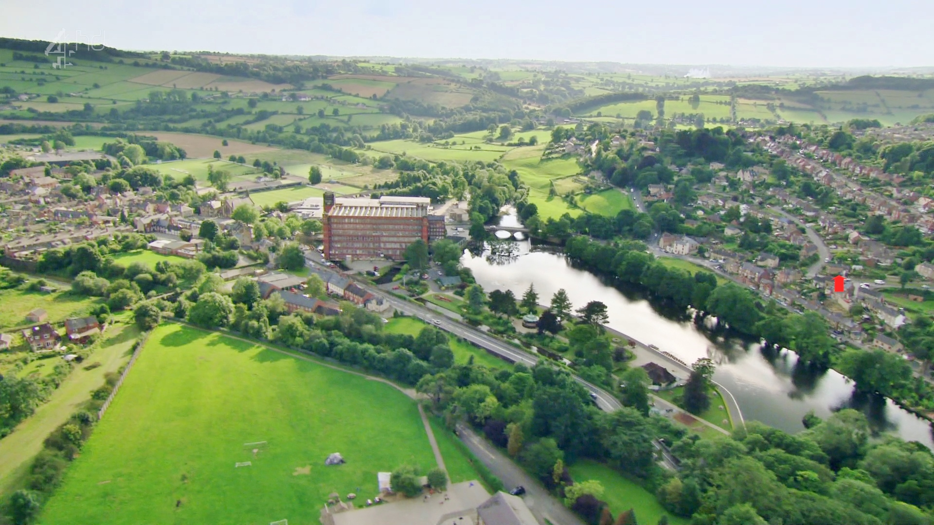 Aerial view of Bridgehill and East Lodge, Belper, Derbyshire, UK